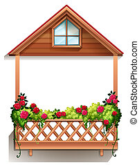A wooden porch with plants