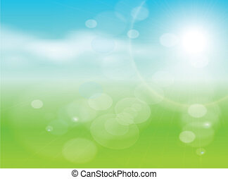 abstract background green, light and sunny , vector.
