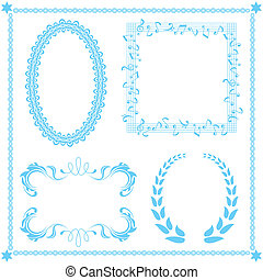Abstract blue frame set