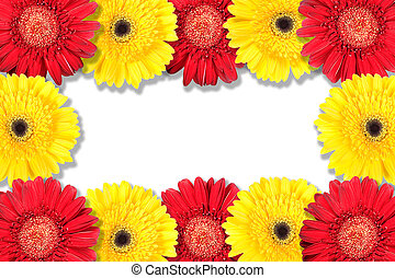 Abstract frame with yellow and red flowers