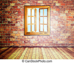 Abstract interior with opened window