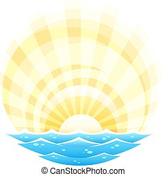 abstract landscape with sea waves and rising sun vector illustration isolated on white background