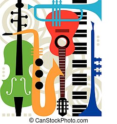 Abstract colored music instruments, full scalable vector graphic included Eps v8 and 300 dpi JPG, change the colors as you like.