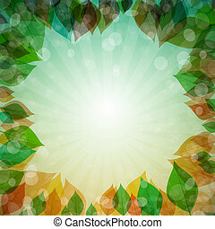 Abstract Vector Spring, Summer, Autumn, Winter Background with Leaves