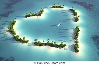 aerial view of a heart-shaped island in a turquoise water with a yatch as a concept for quiet and romantic vacations