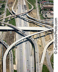 Aerial View of Highway with Crossing Lanes