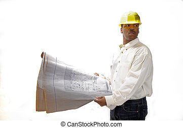 African American Contractor checking plans