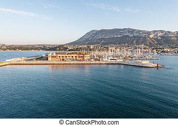Alicante Denia port marina and Mongo in mediterranean sea of Spain