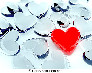 red heart surrounded by glass hearts