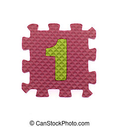 Alphabet 1 puzzle pieces on white background