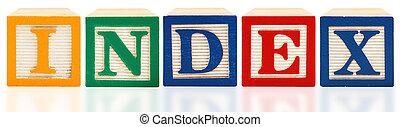 Colorful alphabet blocks. Index