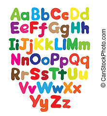 Alphabet bubble colored hand drawing in white background
