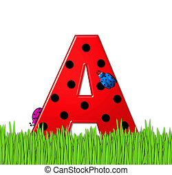 """The red letter A, in the alphabet set """"Lady Bug Red,"""" has large black polka dots and is decorated with 3D ladybugs. Letter is nestled in tall, garden grass."""