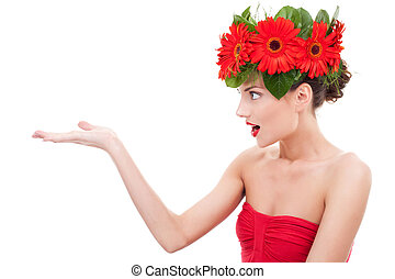 amazing flower woman presenting