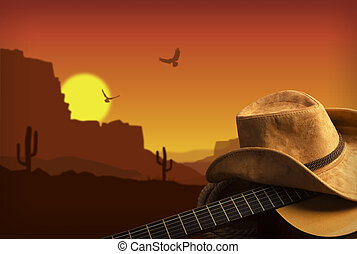 Country music collage with guitar and cowboy hat . American landscape background