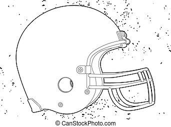 American football helmet (outline vector illustration)