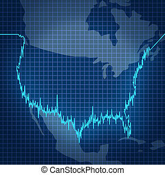 American stock market with a finance investment diagram chart in the shape of the geography of the United States as a symbol of fluctuating value of investment stocks and business statistics of the economy.