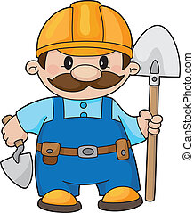 An illustration of a builder with a shovel and trowel