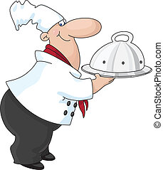 An illustration of a cook with a tray