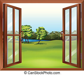 An open wooden window