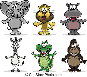 A collection of 6 african animals.