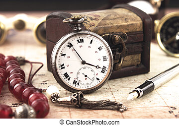 Antique Retro Pocket Clock and decoration objects