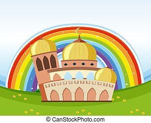 Arab beautiful mosque with rainbow background