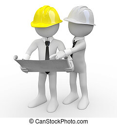Chief architect looking at plans while another architect gives explanations
