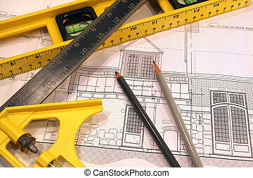 Architectural plans and tools for remodeling a home
