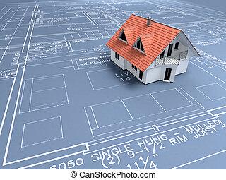 3d house over a blueprint; 3d render