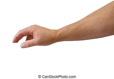 Male arm reaching isolated with clipping path.