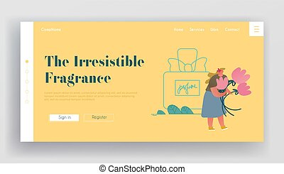 Aroma Cosmetics Perfumery Production Website Landing Page. Perfumer Holding Flower Ingredient for Creating New Perfume Floral Fragrance Toilet Water Web Page Banner. Cartoon Flat Vector Illustration
