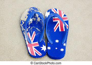Thongs, flip-flops, sandles, featuring the design of Australia's flag.