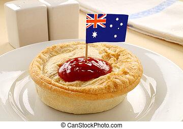 Australian flag on the classic Australian meat pie.