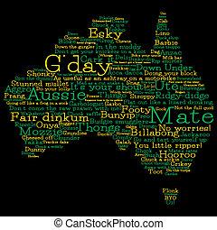 Australia map made from Australian slang words in vector format.