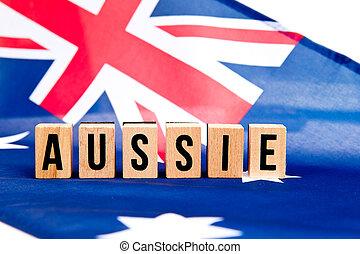 Australian Flag - Aussie - wooden letters
