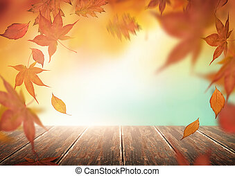 Autumn Backdrop with Falling Leaves