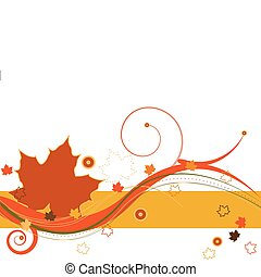 Autumn leaves and abstract design on a white background.
