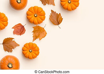 Autumn Fall Composition With Pumpkins And Leaves