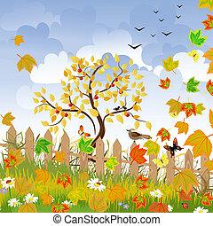 autumn landscape with a fence