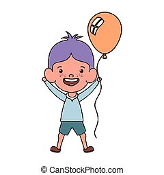 baby boy smiling with helium balloon in hand