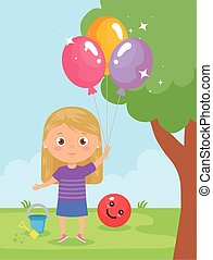 baby girl smiling with helium balloon in hand