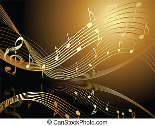 Background with music gold notes