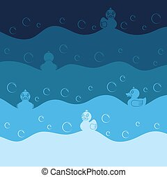 Background with toy ducks and bubbles. Colored vector illustration.