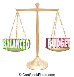Balanced Budget 3d words on a gold scale weighing costs against revenues in accounting or bookkeeping