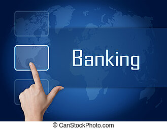 Banking concept with interface and world map on blue background