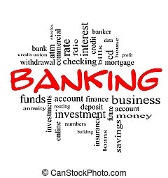 Banking Word Cloud Concept in red and black letters with great terms such as bank, credit union, checking, account, annity and more.