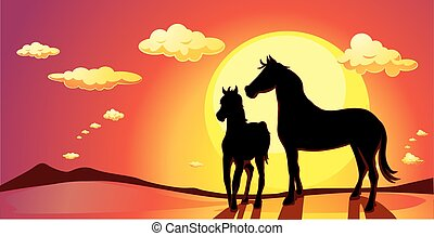 banner landscape with horses in sun