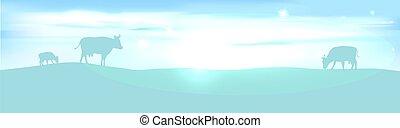 banner with lightening landscape an