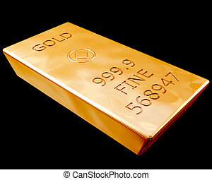 Single bar of pure gold isolated on a black background
